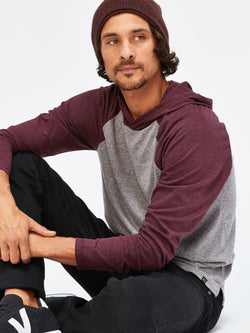 Contrast Raglan T-Shirt Hoodie Mens Tops Threads 4 Thought S Heather Grey / Maroon Rust