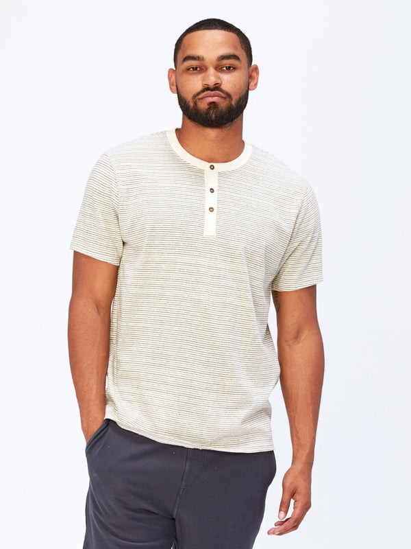 Troy Stripe SS Henley Mens Tops Threads 4 Thought