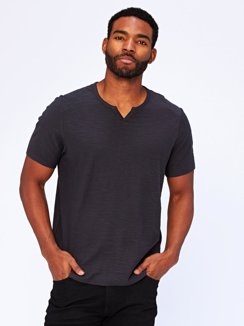 Notched Slub Cotton Short Sleeve Tee Mens Tops Threads 4 Thought