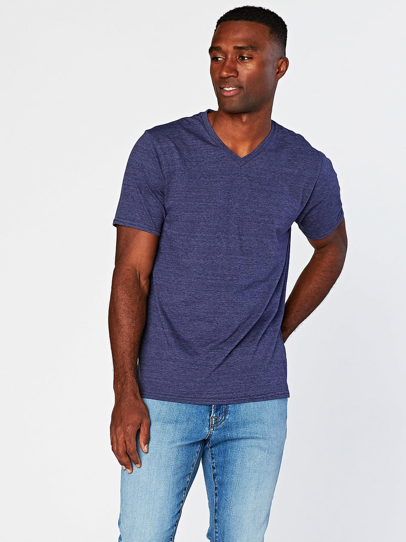 Triblend Short Sleeve V Neck Tee Mens Tops Threads 4 Thought S Denim