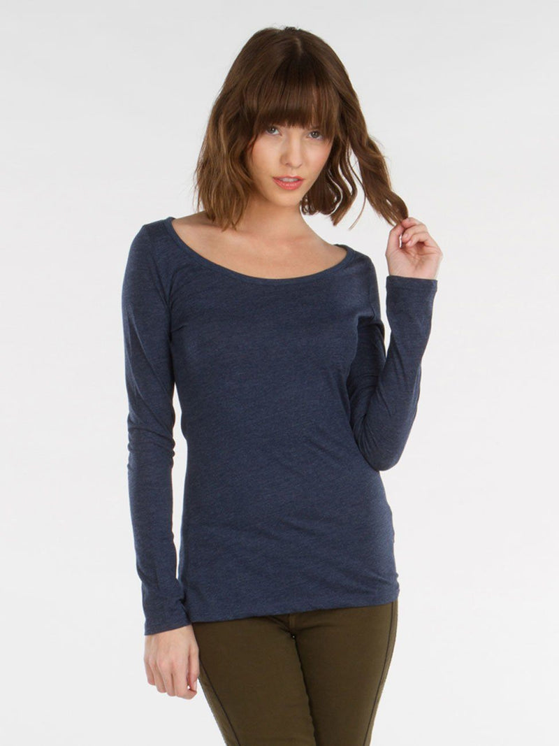 Long Sleeve Scoop Top Womens Tops Threads 4 Thought XS INDIGO
