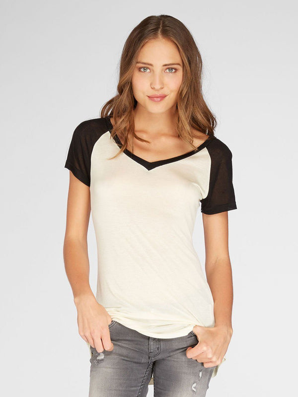 Cascade Tee Womens Tops Threads 4 Thought XS PORCELAIN/BLACK