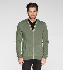 Triblend Zip Fleece Hoodie Mens Outerwear Sweatshirt Threads 4 Thought s Dirty Evergreen