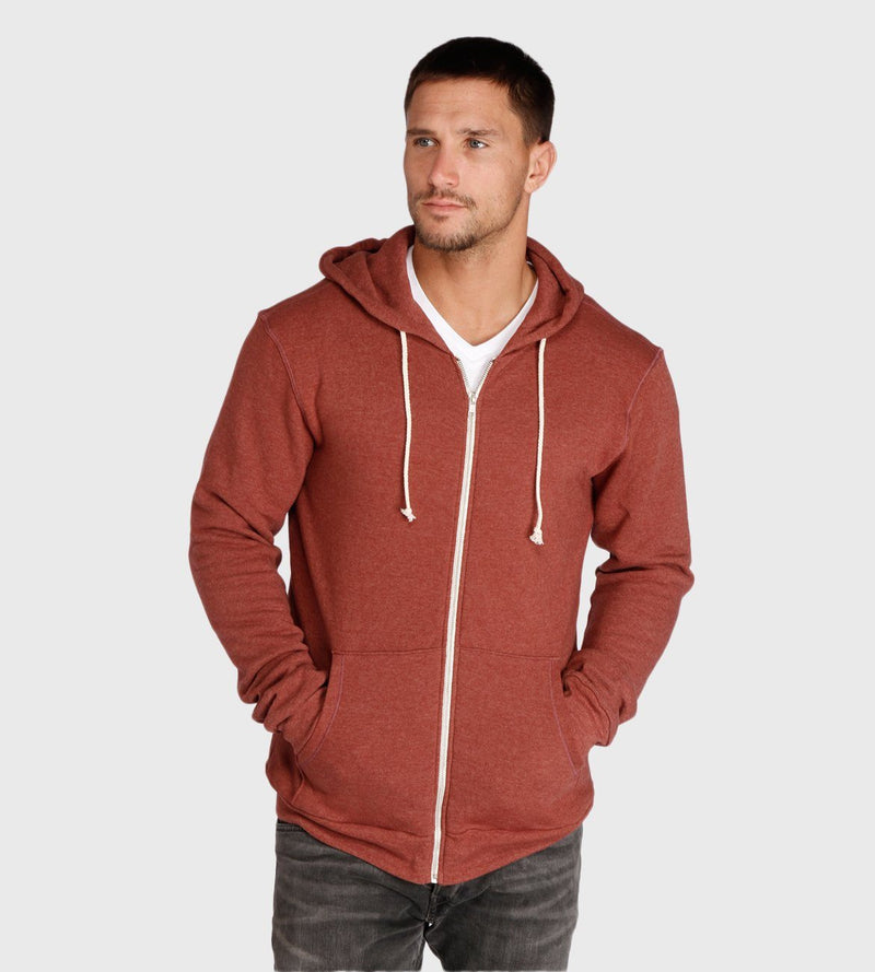 Triblend Zip Fleece Hoodie Mens Outerwear Sweatshirt Threads 4 Thought s Syrah