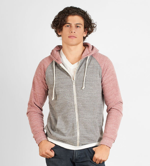 Malibu Zip Front Hoodie Mens Outerwear Sweatshirt Threads 4 Thought s Heather Grey Brick Red