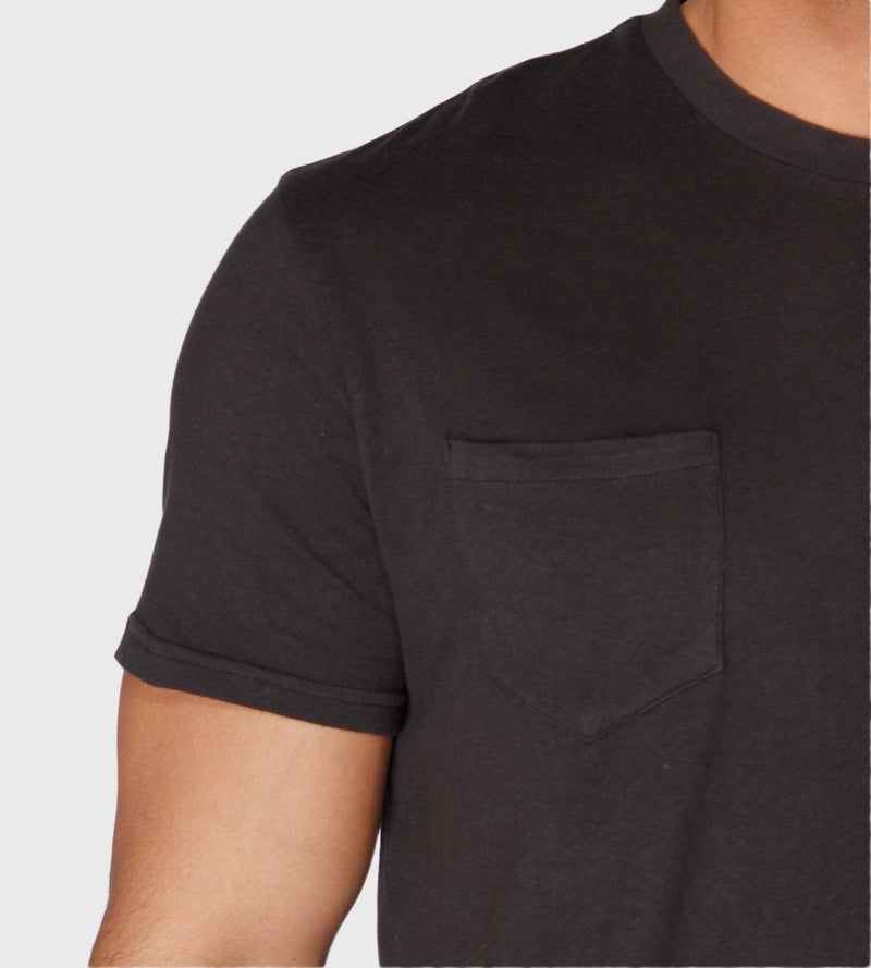 Black S/S Printed V Neck