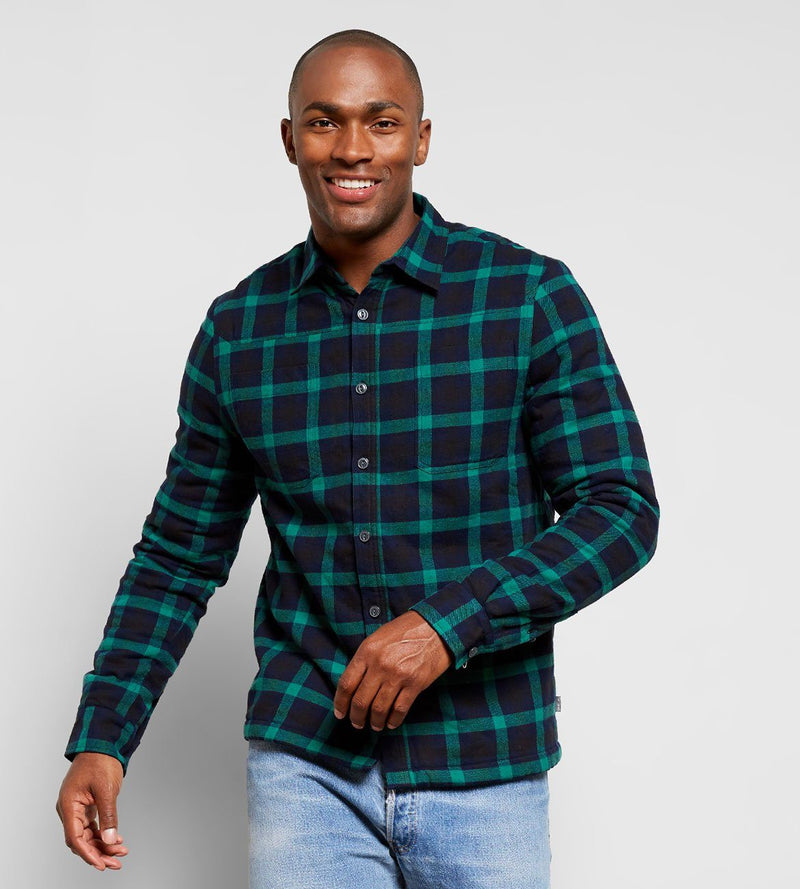 Sherpa Plaid Shirt Mens Tops Threads 4 Thought s Green Navy