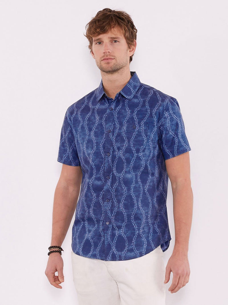 Standard Short Sleeve Shirt Mens Tops Threads 4 Thought S Blue Batik