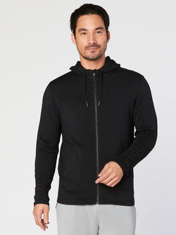Chuck Feather Fleece Zip Hoodie Mens Outerwear Sweatshirt Threads 4 Thought S Black