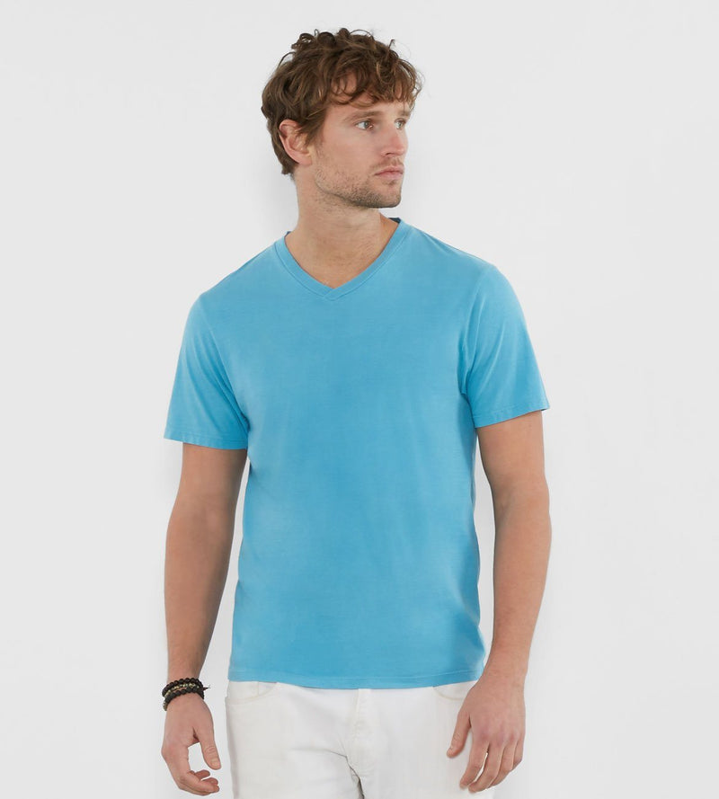 Standard V Neck Tee Mens Tops Threads 4 Thought s Aqua