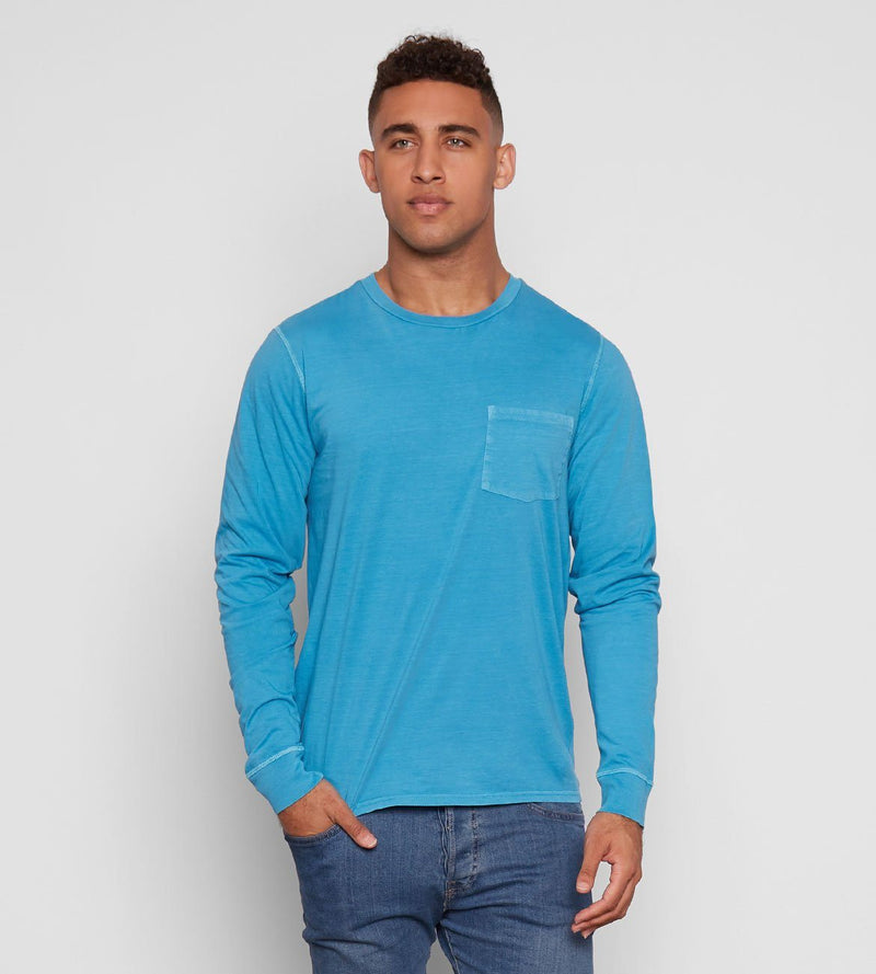 Standard L/S Pocket Tee Mens Tops Threads 4 Thought s Aqua
