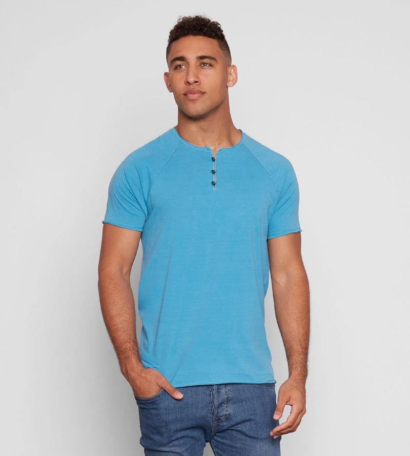 Standard S/S Henley Mens Tops Threads 4 Thought s Aqua