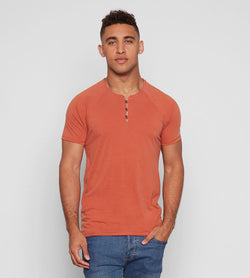 Standard S/S Henley Mens Tops Threads 4 Thought s Orange Clay