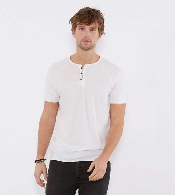 Standard S/S Henley Mens Tops Threads 4 Thought s White
