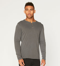 Standard L/S Henley Mens Tops Threads 4 Thought s Quiet Shade