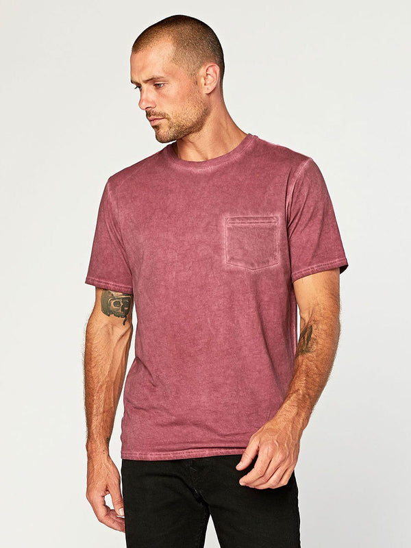 Rainwash Pocket Crew Mens Tops Threads 4 Thought S Maroon Rust