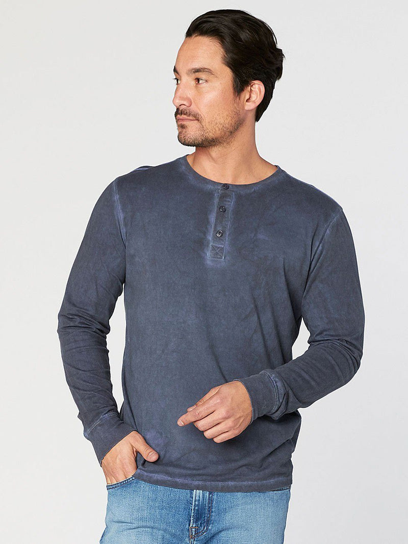 Knox Rainwash Henley Mens Tops Threads 4 Thought S RAW DENIM