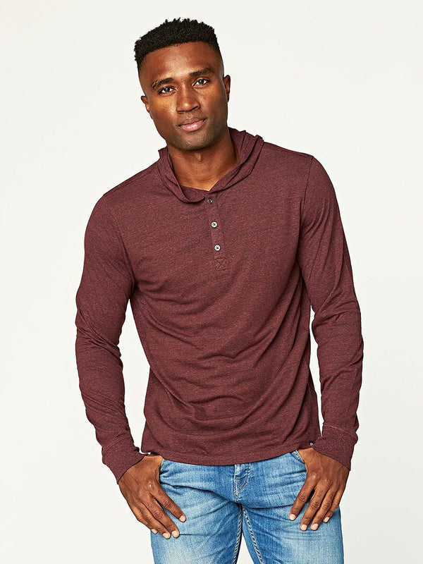 2 Button Hooded Pullover Henley Mens Tops Threads 4 Thought S Maroon Rust