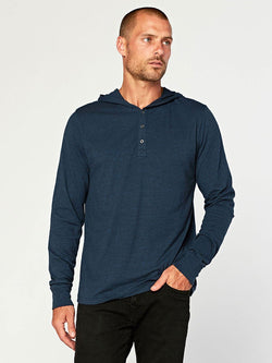 2 Button Hooded Pullover Henley Mens Tops Threads 4 Thought S Midnight