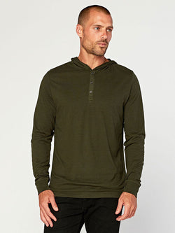 2 Button Hooded Pullover Henley Mens Tops Threads 4 Thought S Rosin