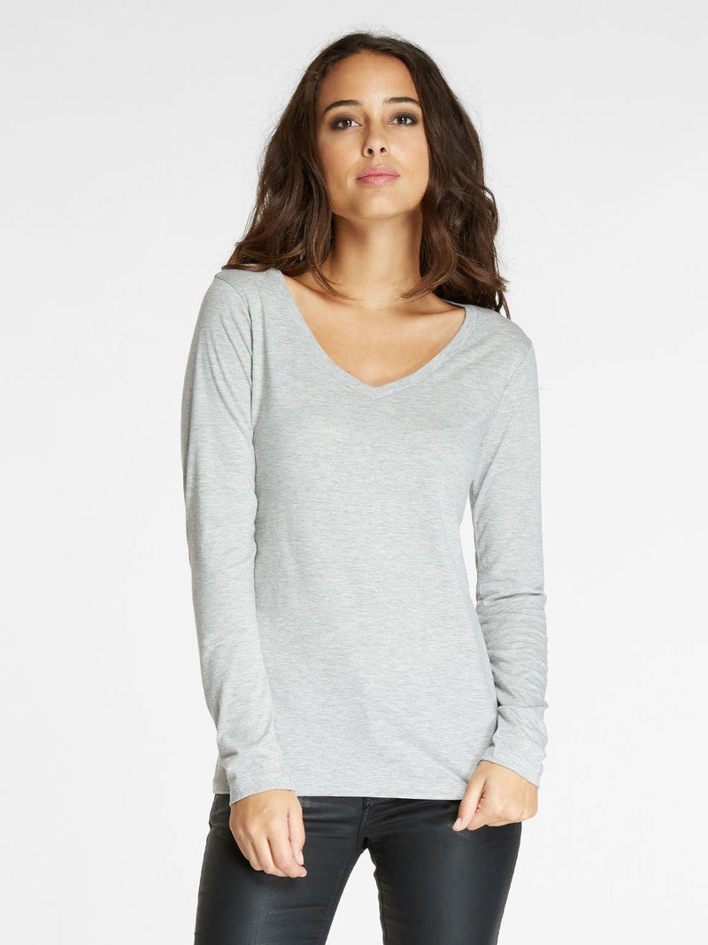 Vanessa V Neck Womens Tops Threads 4 Thought XS Heather Grey