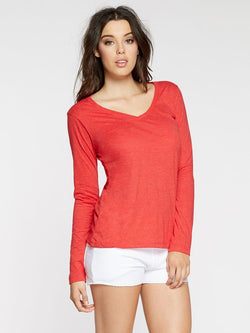 Vanessa V Neck Womens Tops Threads 4 Thought XS Scarlet