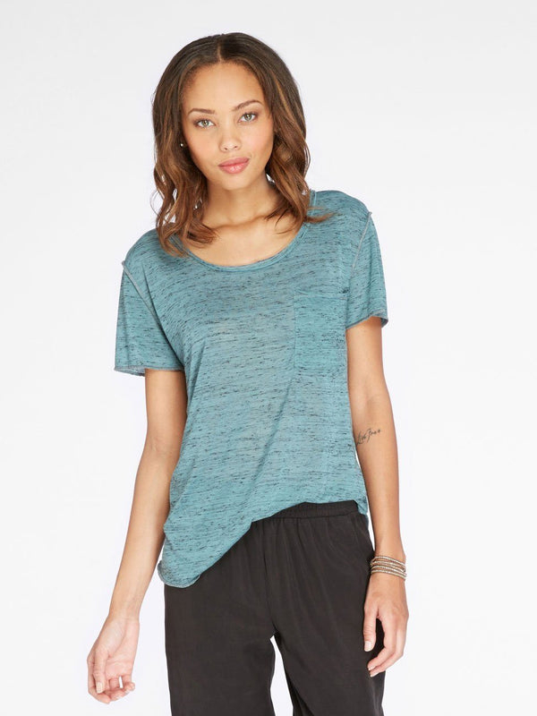 Ezra Melange Tee Womens Tops Threads 4 Thought XS Heather Juniper