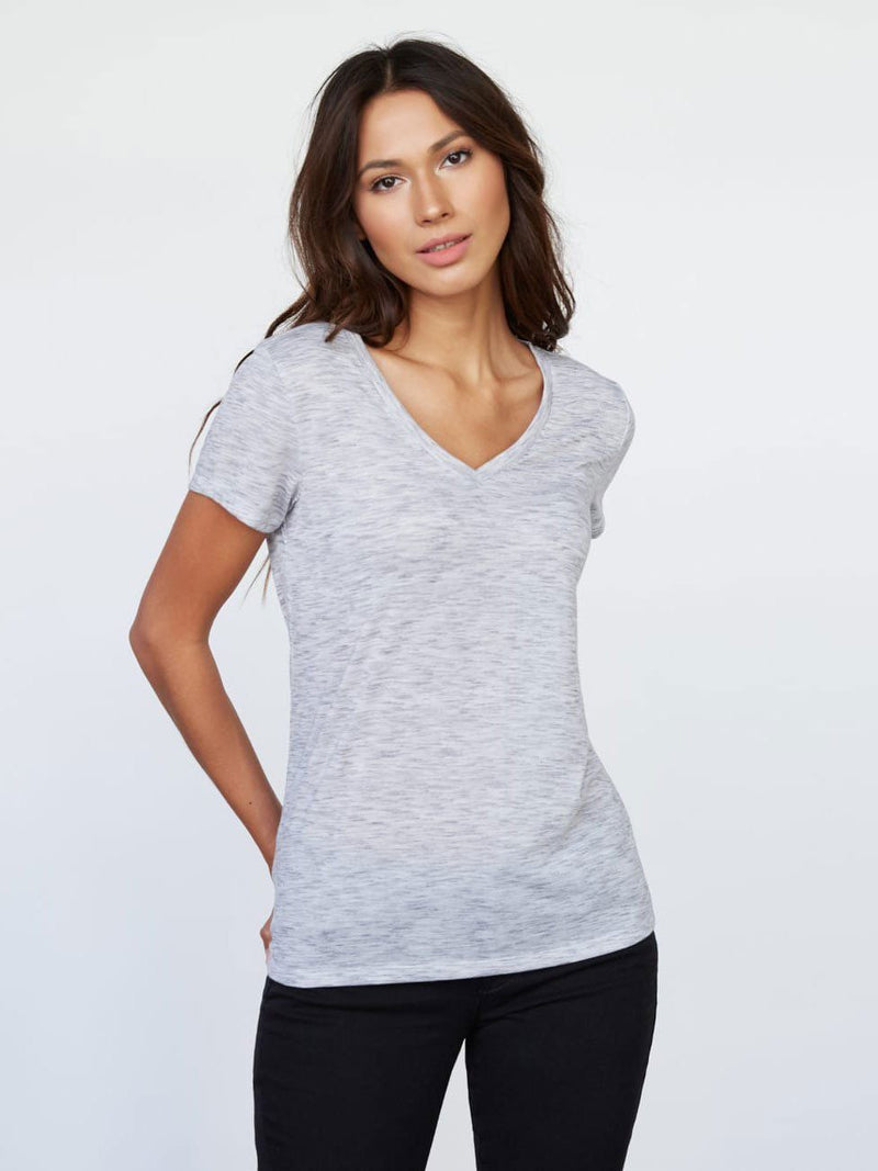 Vail V Neck Tee Womens Tops Tee Threads 4 Thought xs Marble