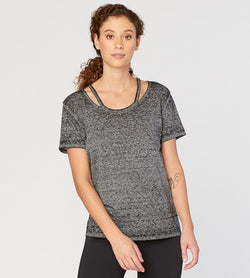 Max Tee / SS Cut Out Knit Top Womens Tops Threads 4 Thought xs Jet Black