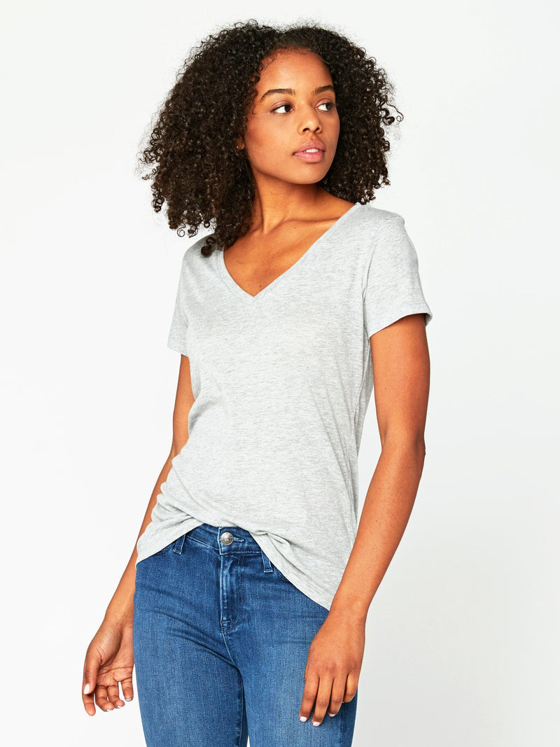 Veronica V Neck Womens Tops Threads 4 Thought XS Heather Grey