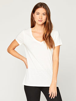 Veronica V Neck Womens Tops Threads 4 Thought xs White