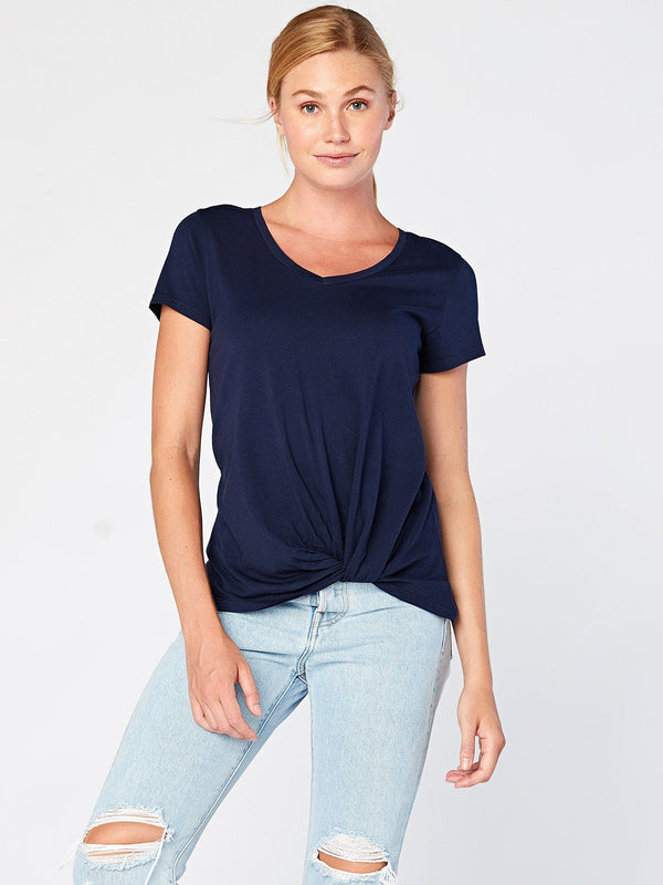 Aisha Twisted Front Top Womens Tops Threads 4 Thought XS Raw Denim