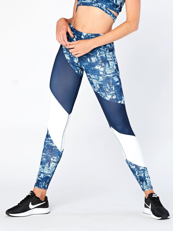 Cascades Printed Legging Womens Bottoms Leggings Threads 4 Thought XS Blue Static