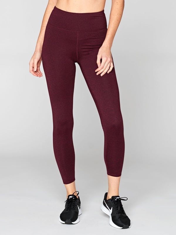 Claire High Rise 7/8 Legging Womens Bottoms Leggings Threads 4 Thought XS Heather Royal Burgundy