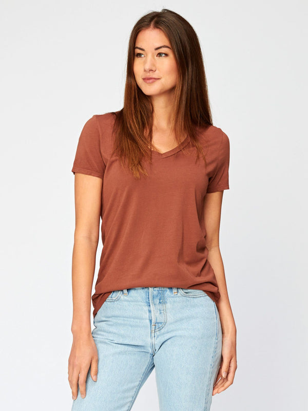 Liza V Neck Womens Tops Threads 4 Thought XS Mahogany