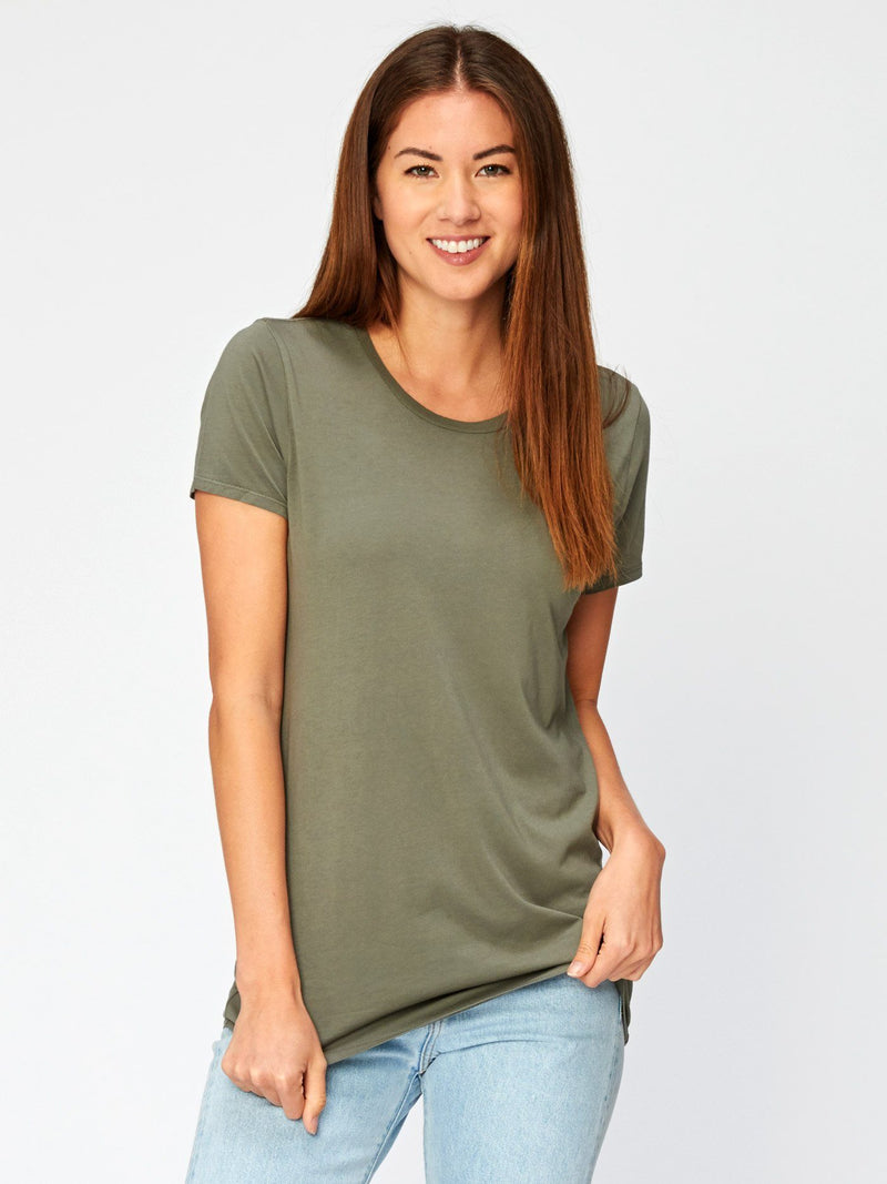 Leigh Scoop Neck Womens Tops Threads 4 Thought XS Artichoke