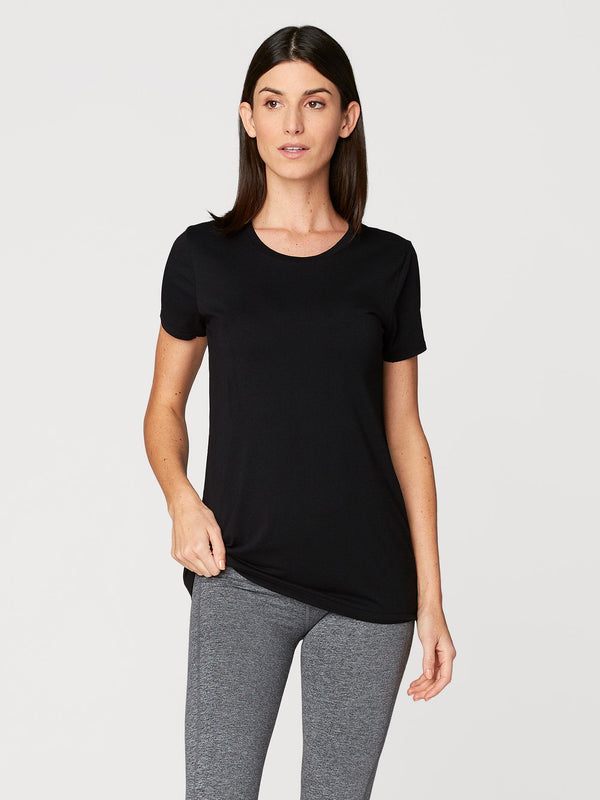 Leigh Scoop Neck Womens Tops Threads 4 Thought XS Jet Black