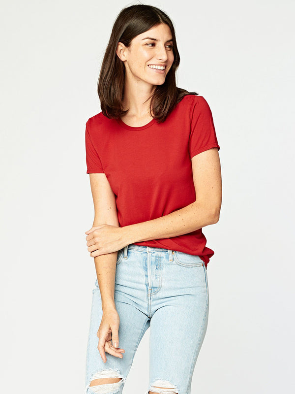 Leigh Scoop Neck Womens Tops Threads 4 Thought XS Collegiate Red
