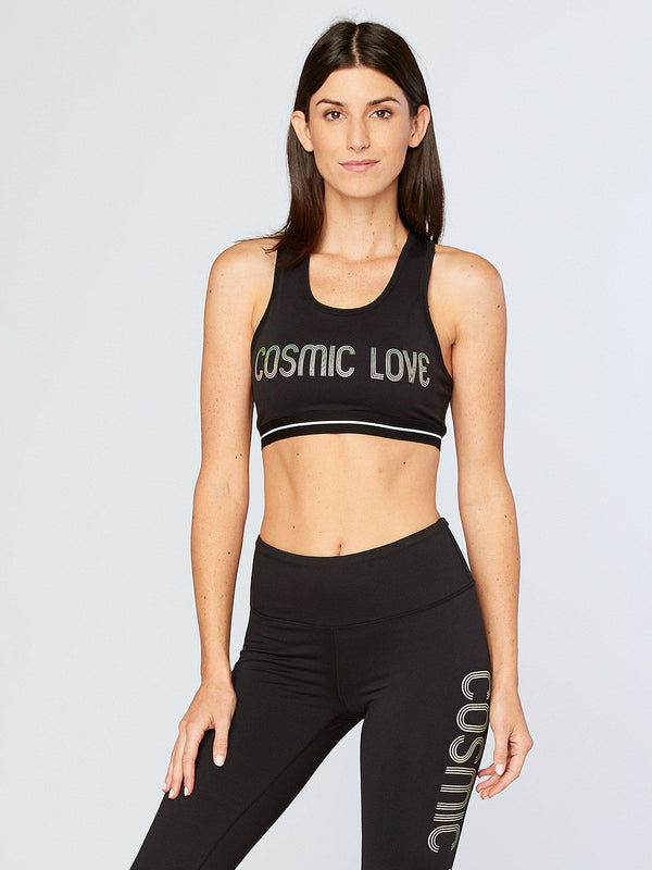 Cosmic Love Sports Bra Womens Tops SportsBra Threads 4 Thought XS Jet Black