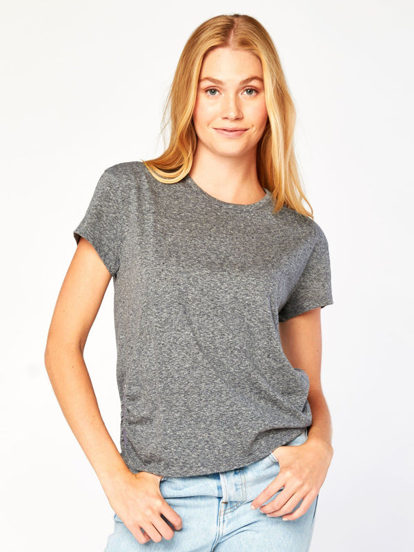 Nelly Zip Top Womens Tops Tee Threads 4 Thought XS Heather Grey