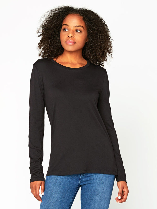 Leigh Long Sleeve Scoop Neck Womens Tops Tee Threads 4 Thought XS Black