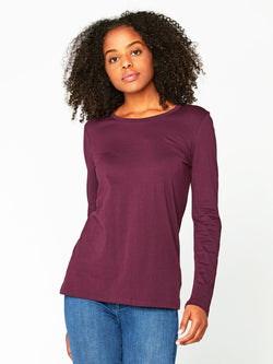 Leigh Long Sleeve Scoop Neck Womens Tops Tee Threads 4 Thought XS Ultra Maroon