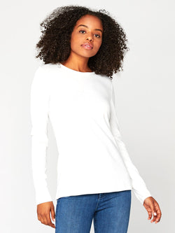 Leigh Long Sleeve Scoop Neck Womens Tops Tee Threads 4 Thought XS White