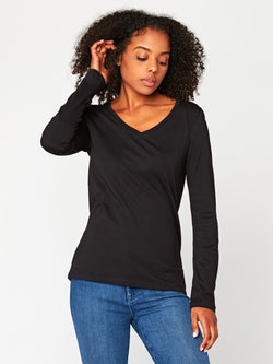 Liza Long Sleeve V-Neck Womens Tops Tee Threads 4 Thought XS Black