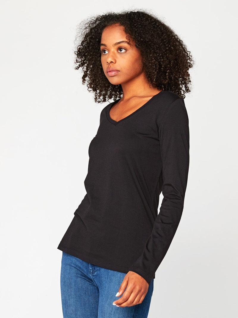 Liza Long Sleeve V-Neck Womens Tops Tee Threads 4 Thought