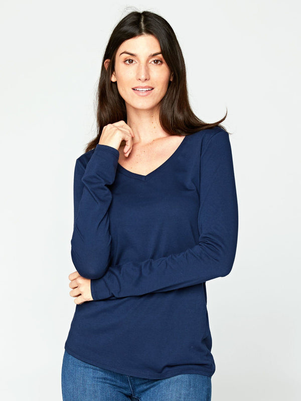 Liza Long Sleeve V-Neck Womens Tops Tee Threads 4 Thought XS Raw Denim