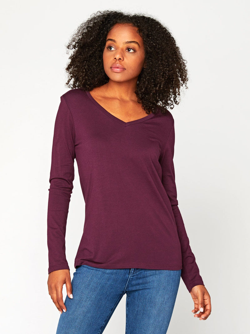 Liza Long Sleeve V-Neck Womens Tops Tee Threads 4 Thought XS Ultra Maroon