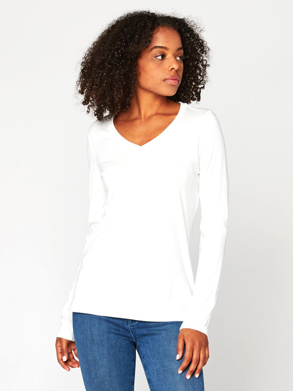 Liza Long Sleeve V-Neck Womens Tops Tee Threads 4 Thought XS White