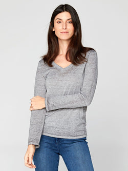 a65e7bc297ed47 Long Sleeve Vintage Wash V-Neck Tee in Grey – Threads 4 Thought