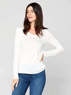 Long Sleeve Vintage Wash V-Neck Tee